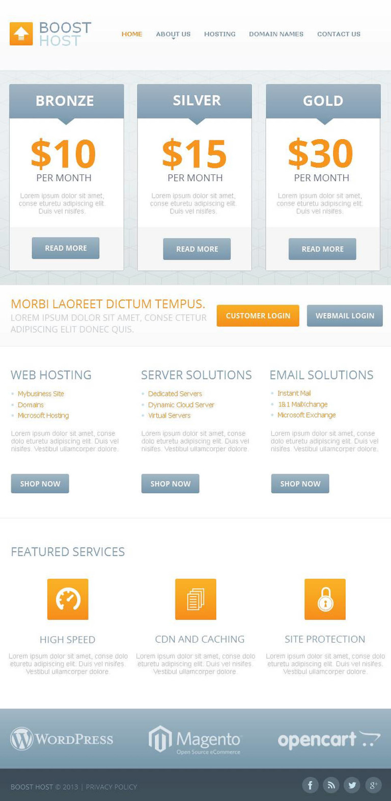 Hosting Facebook HTML CMS Template New Screenshots BIG