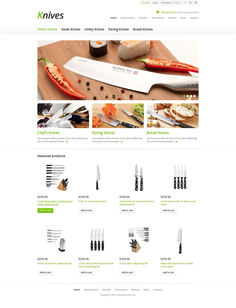 Knives for Your Kitchen ZenCart Template New Screenshots BIG