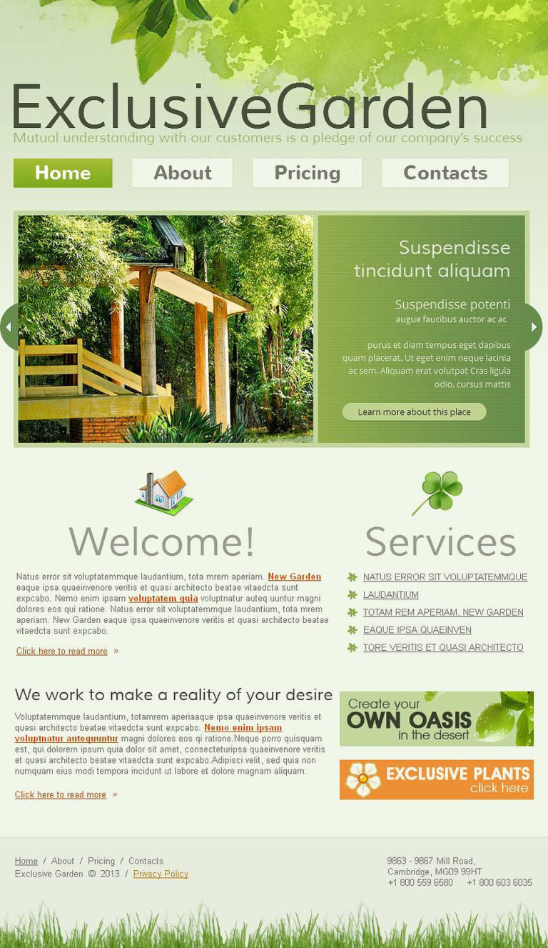 Landscape Design Facebook HTML CMS Template New Screenshots BIG
