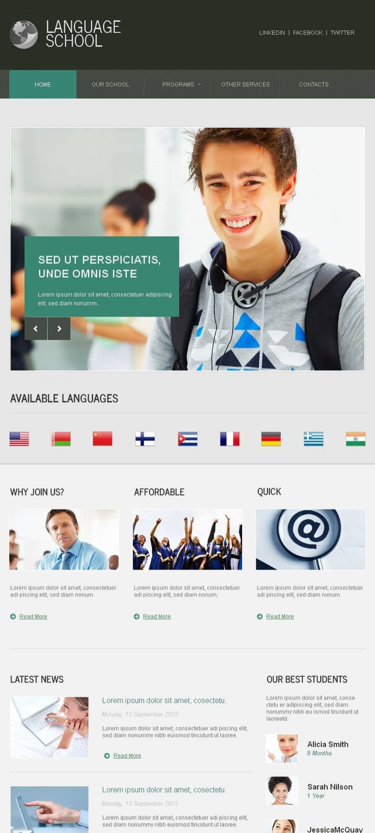 Language School Facebook HTML CMS Template New Screenshots BIG