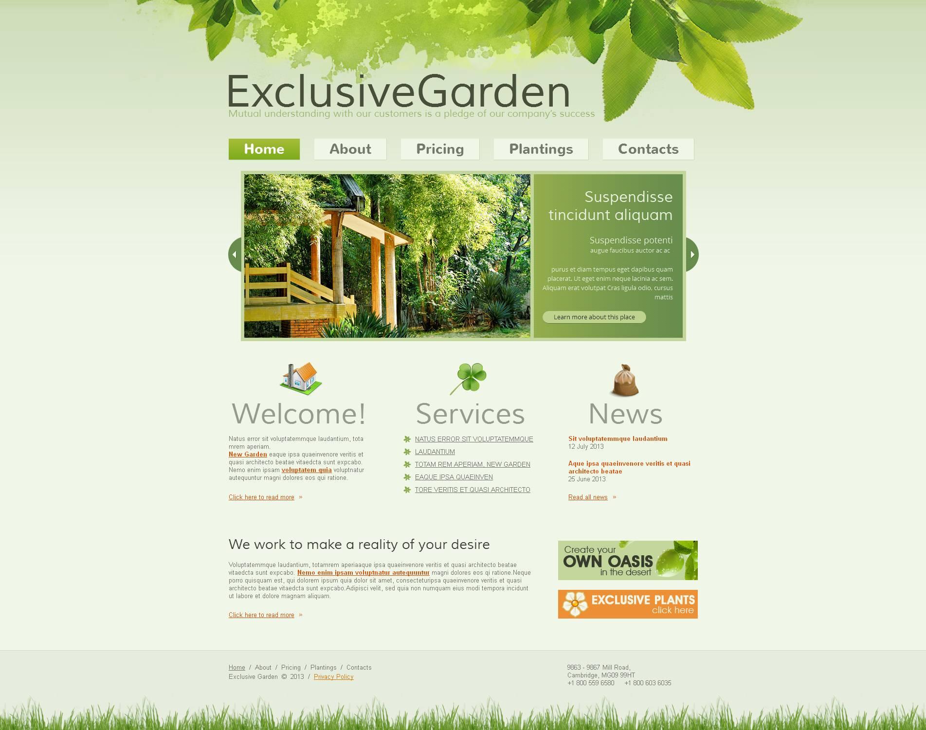 Luxusní Moto CMS HTML šablona na téma Design zahrady #45617