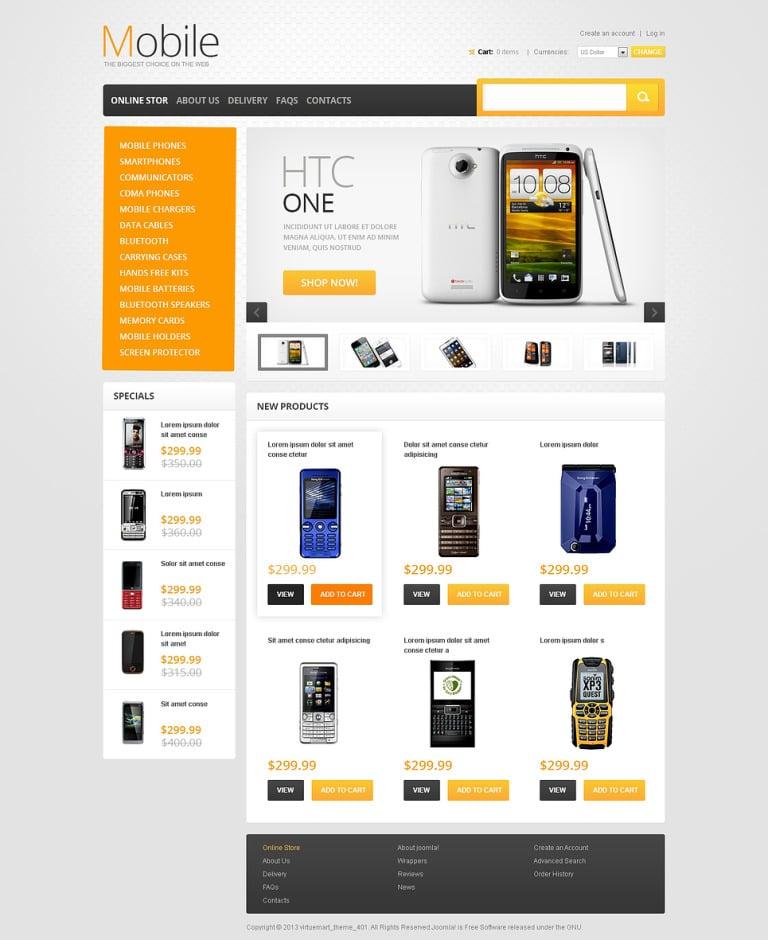 Mobile Phones VirtueMart Template New Screenshots BIG