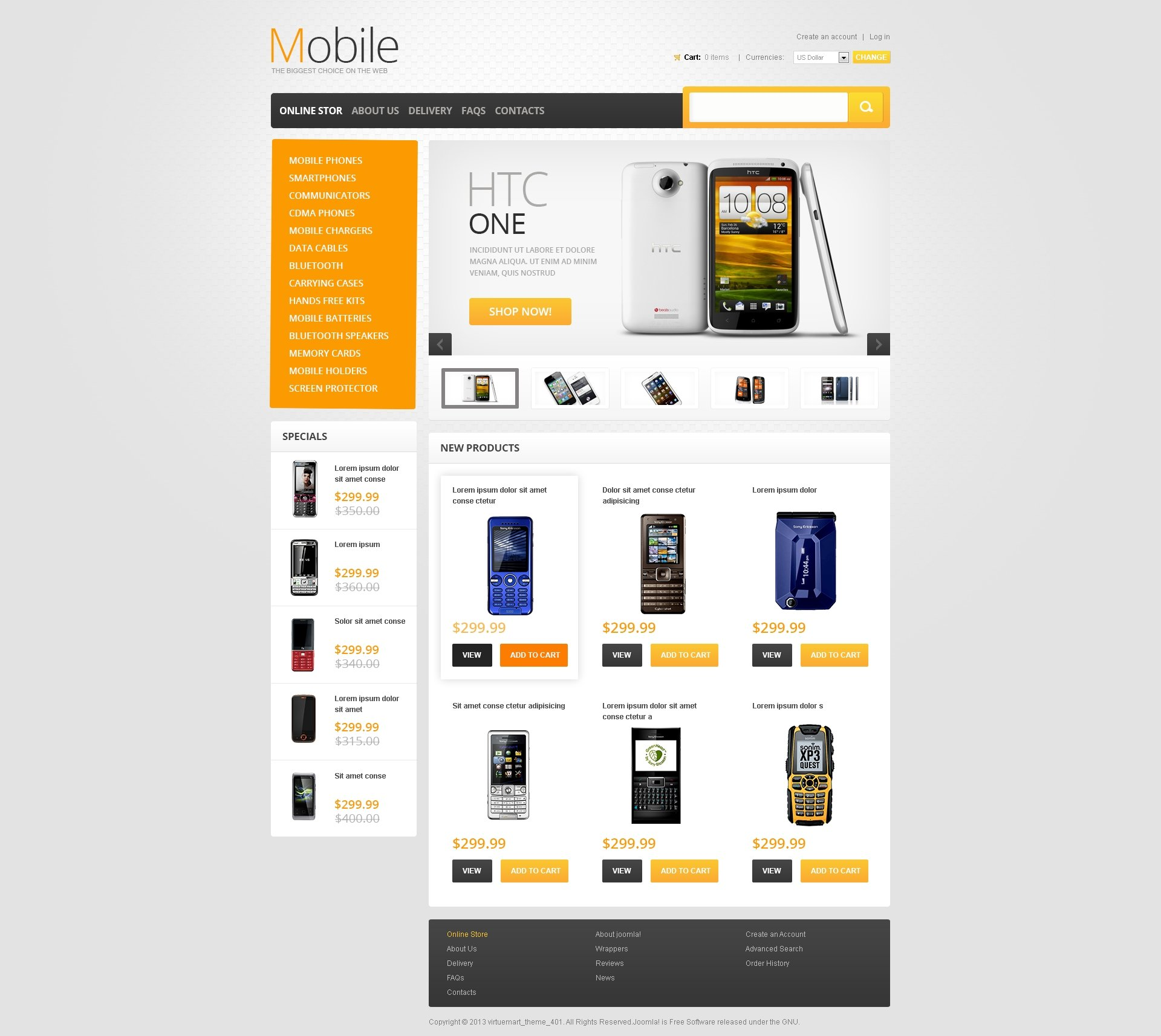 Mobile Phones VirtueMart Template