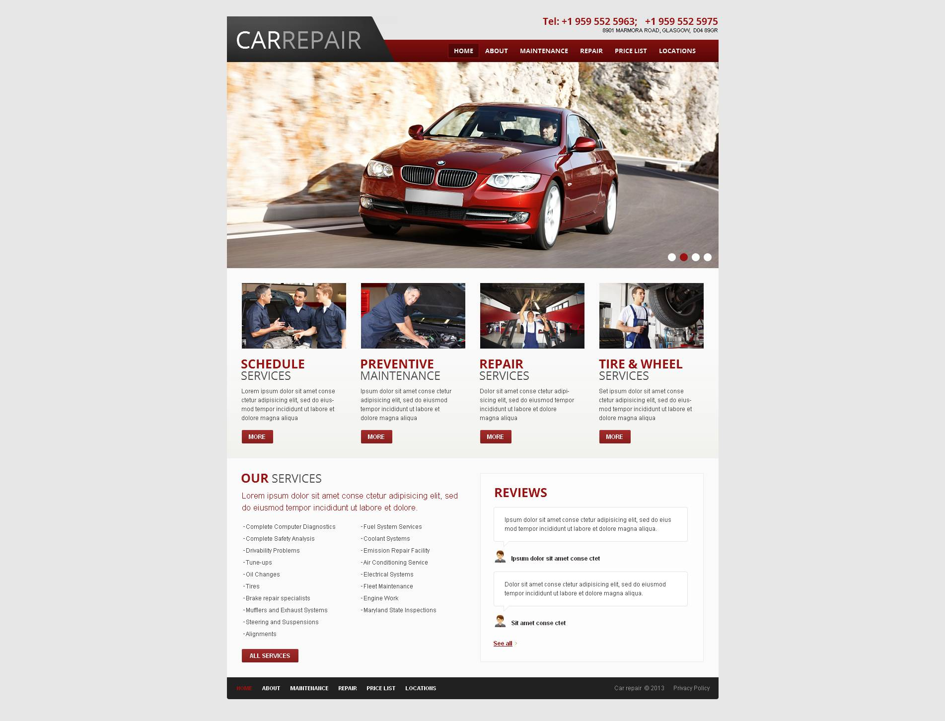MotoCMS HTML шаблон №45607 на тему ремонт авто