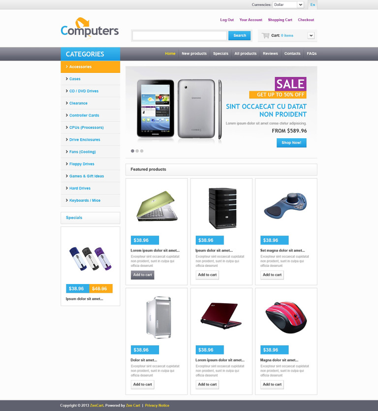 Online Computers Store ZenCart Template New Screenshots BIG