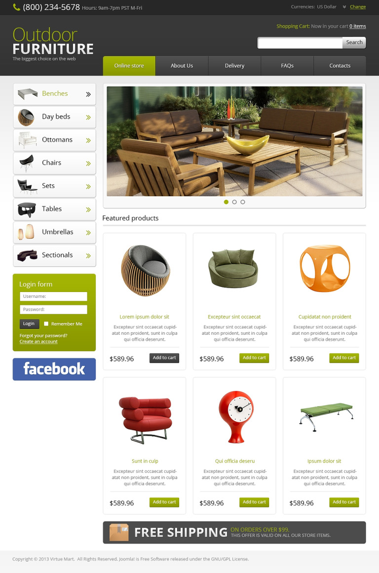 Outdoor Furniture VirtueMart Template New Screenshots BIG