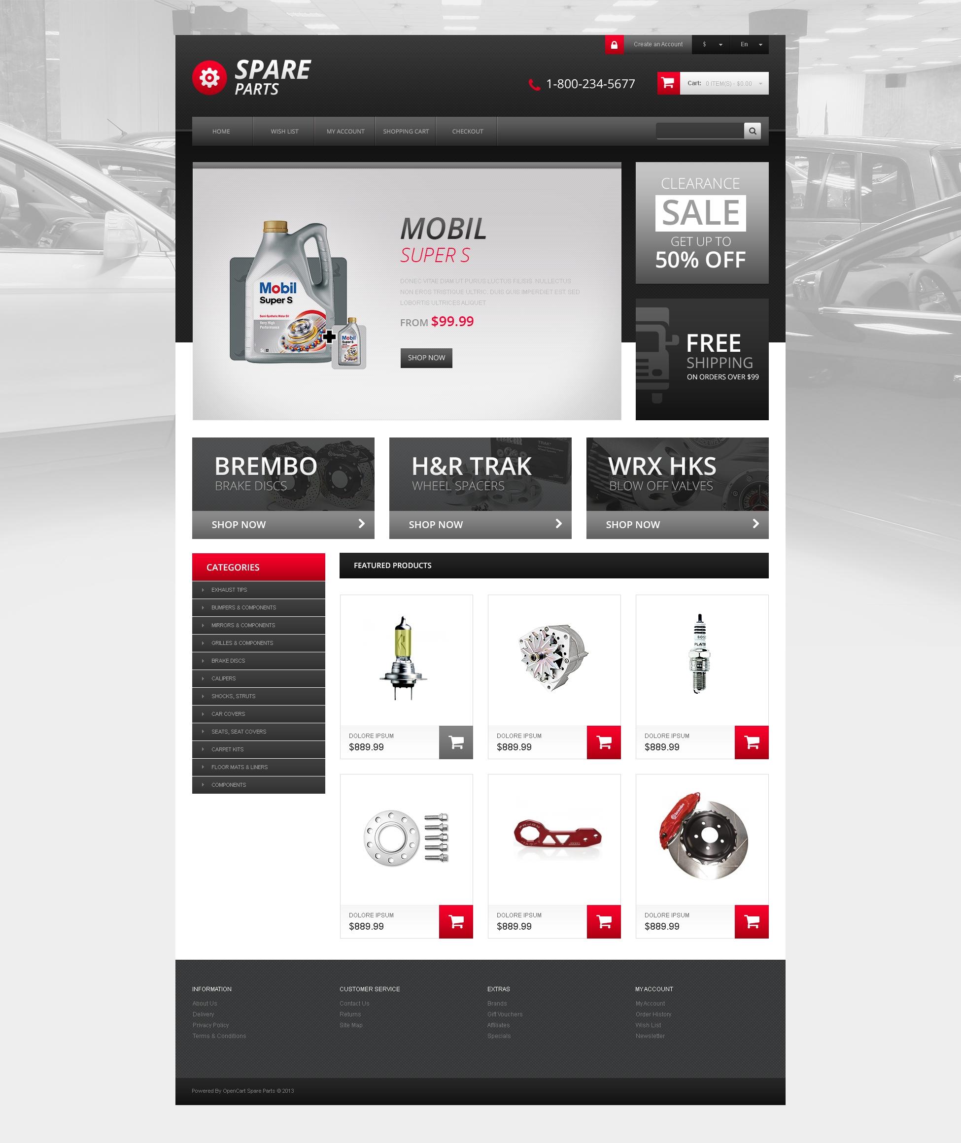 Responsive Spares Store OpenCart Template - screenshot