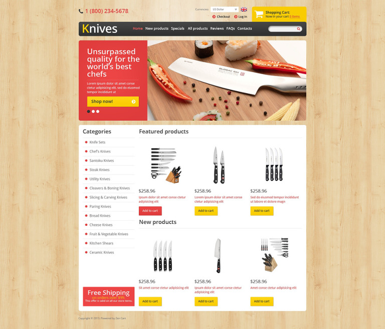 Sharp Knives ZenCart Template New Screenshots BIG