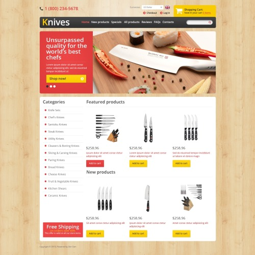 Knives - ZenCart Kitchen Store Template