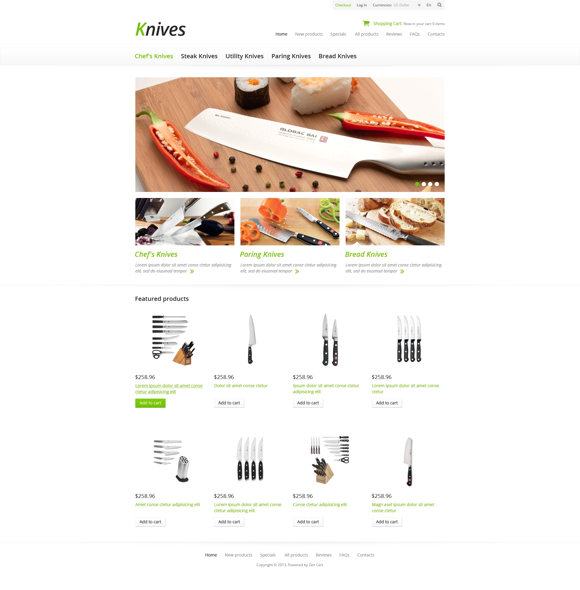 """Tema ZenCart #45675 """"Knives for Your Kitchen"""""""