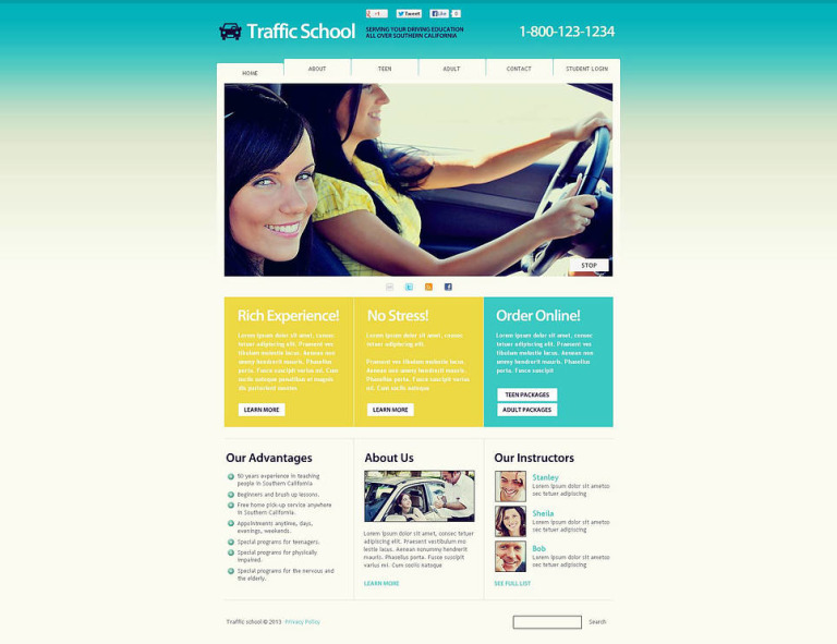 Traffic School Flash CMS Template New Screenshots BIG
