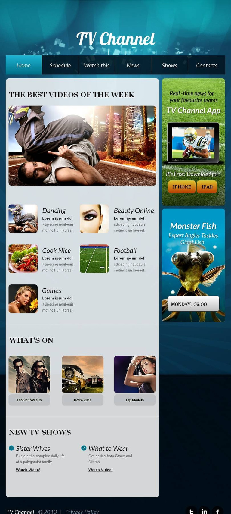 TV Channel Facebook HTML CMS Template New Screenshots BIG