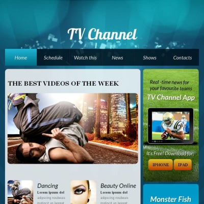 TV Channel Facebook HTML CMS Templates on homes cartoon, homes color, homes funny,
