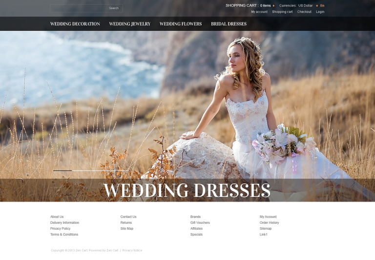 Wedding Dresses ZenCart Template New Screenshots BIG