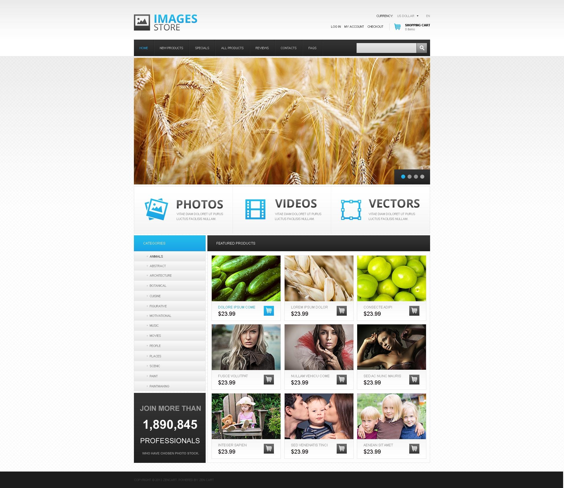 "ZenCart Vorlage namens ""Quality Images Store"" #45679"