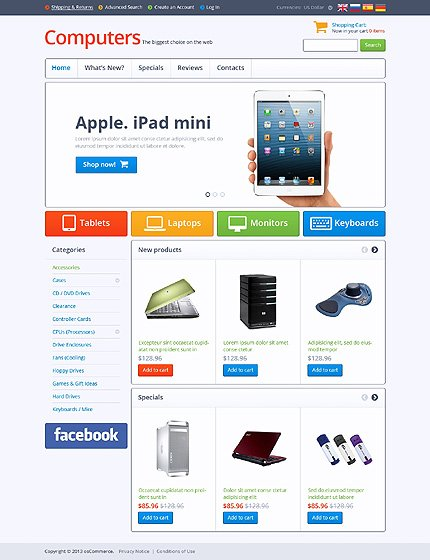 osCommerce Template 45740 Main Page Screenshot