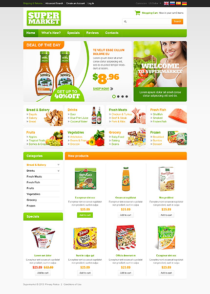 osCommerce Template 45741 Main Page Screenshot