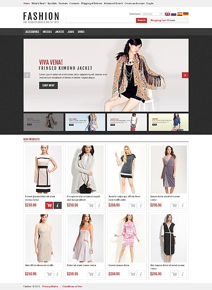 osCommerce Template 45742 Main Page Screenshot