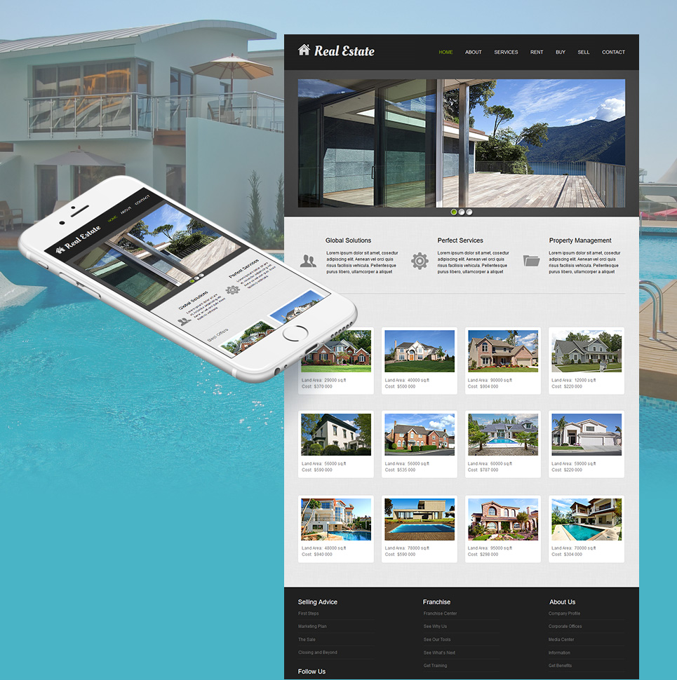 Real Estate Website Template with Prevailing Graphic Content - image