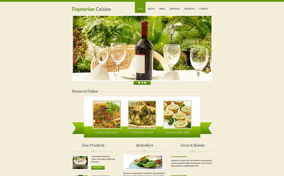 Luxusní Moto CMS HTML šablona na téma Vegetariánská Restaurace New Screenshots BIG