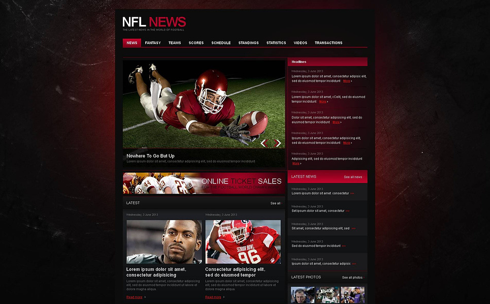 Prémium Futball Moto CMS HTML sablon New Screenshots BIG