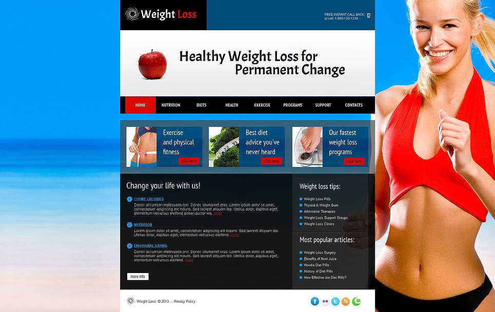 Weight Loss Website Template with a Full-Screen Background Photo - image