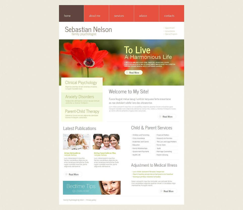 Family Psychology Website Template Done in Warm Colors - image