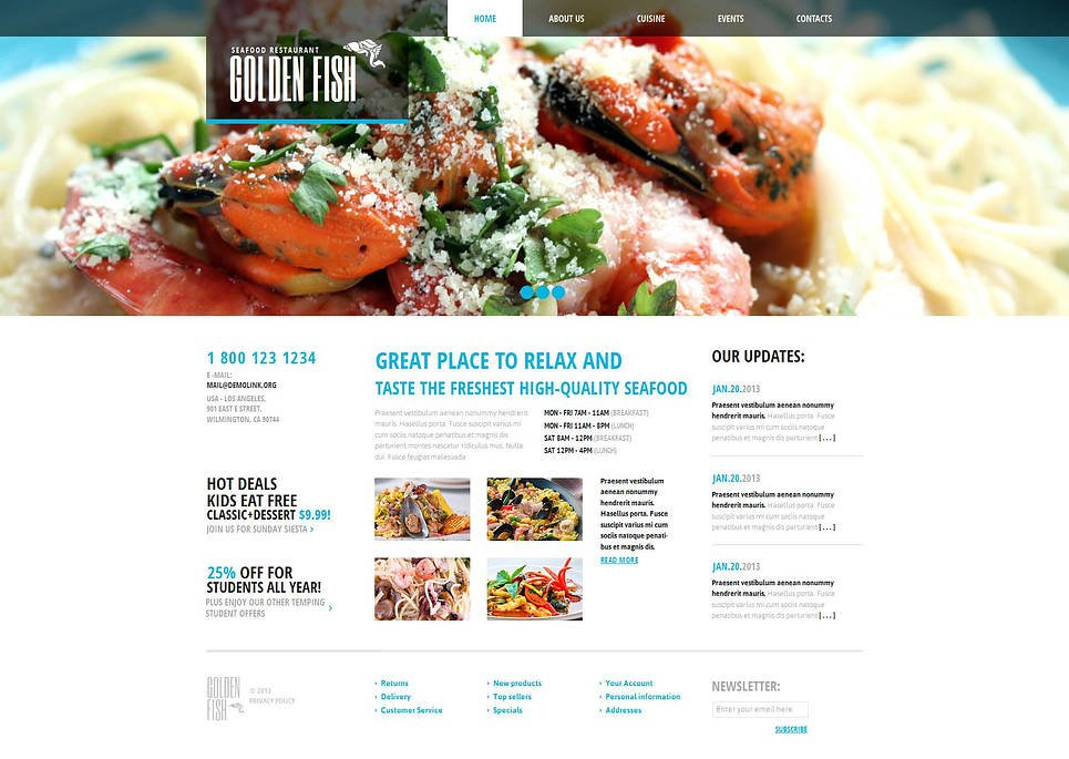White and Blue Website Template for Seafood Restaurants - image