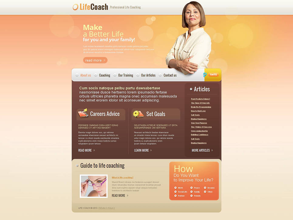 Life Coaching Website Template Designed in Shades of Brown - image