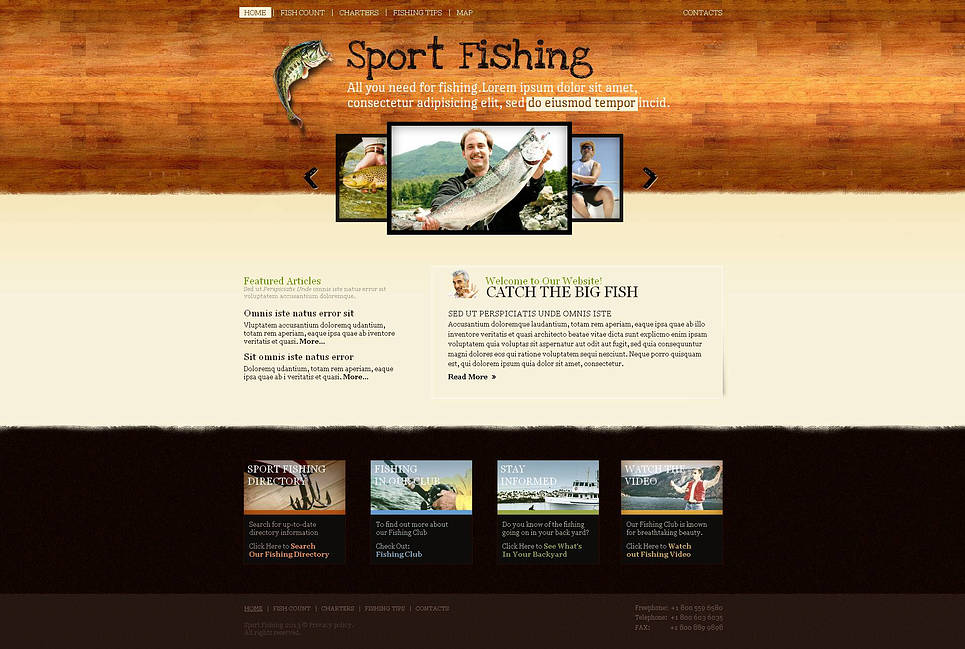Creative Fishing Website Template with Carousel Photo Gallery - image