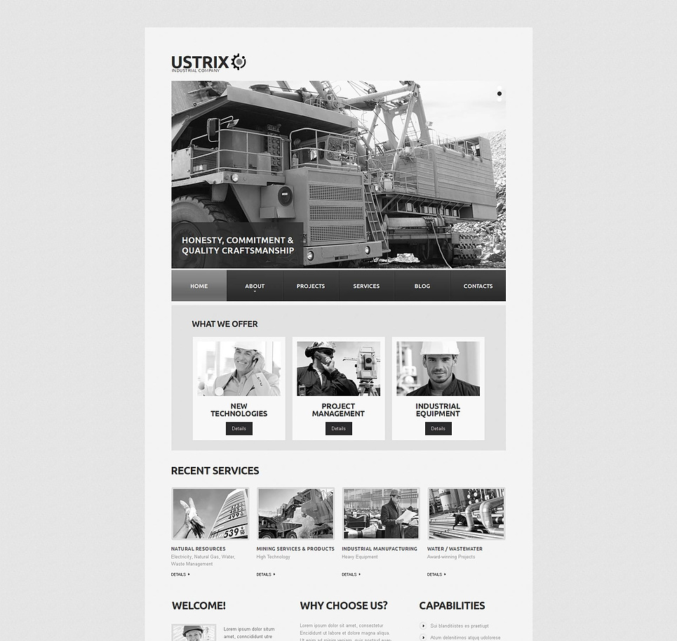 Gray Industrial Website Template with CMS - image