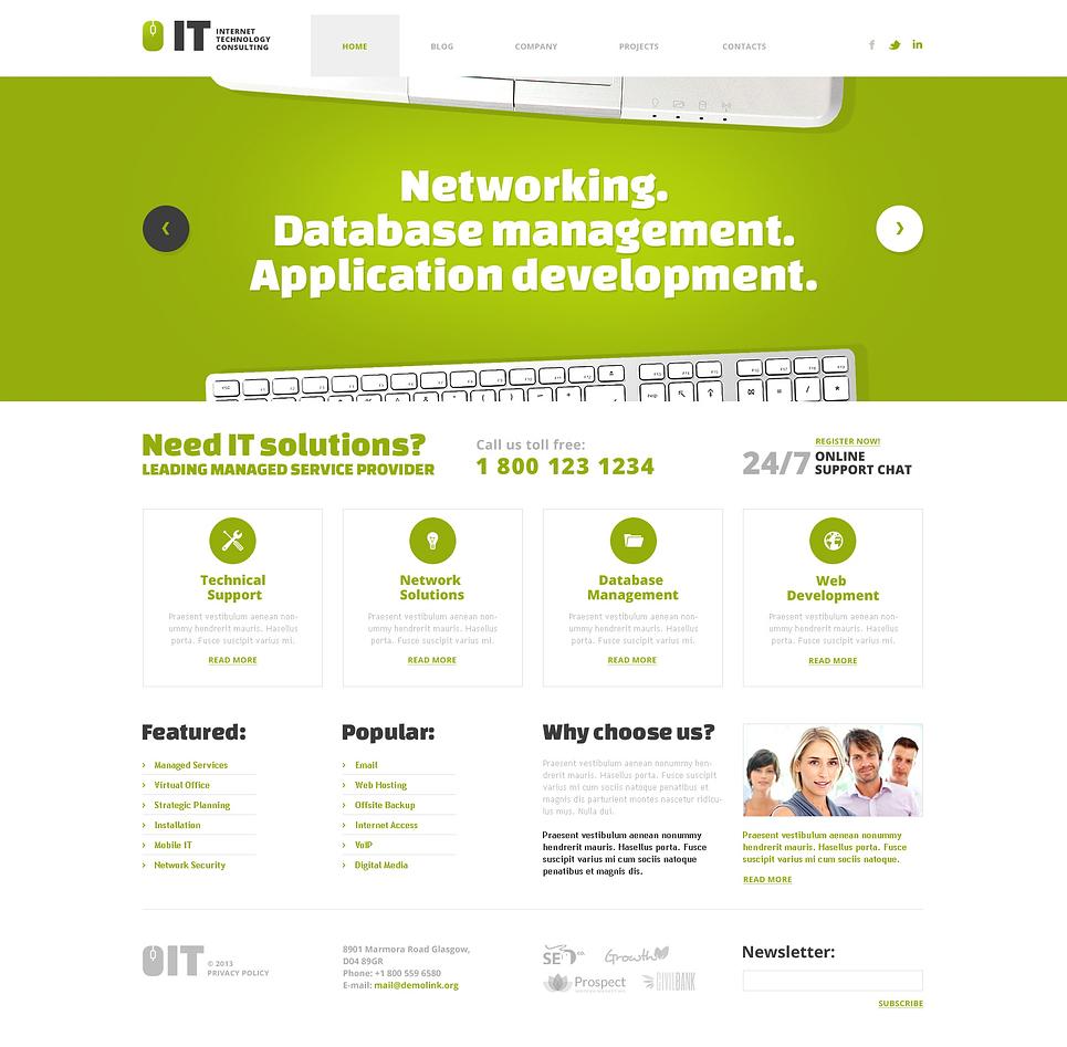 Адаптивный шаблон сайта на тему информационные технологии #45702