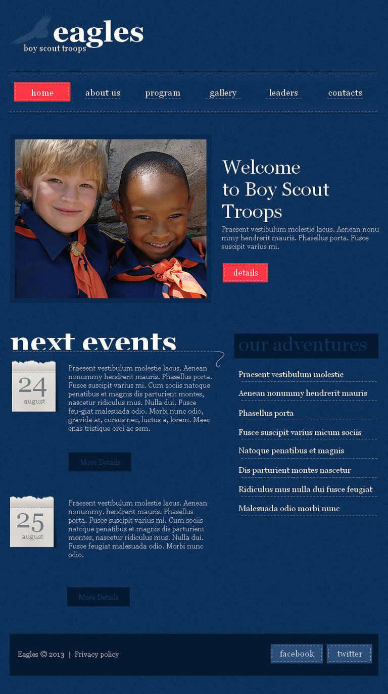 Boy Scout Facebook HTML CMS Template New Screenshots BIG