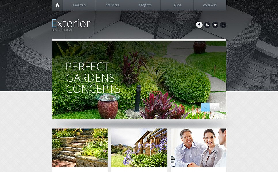Exterior design responsive website template 45734 for Exterior design templates