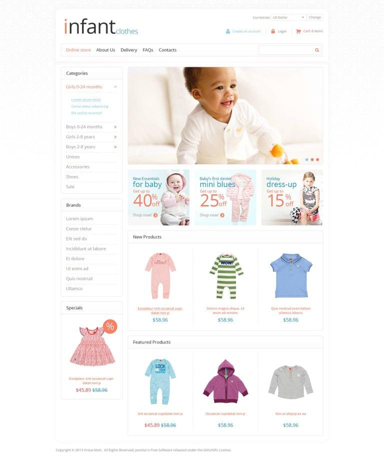 Infant Store VirtueMart Template New Screenshots BIG