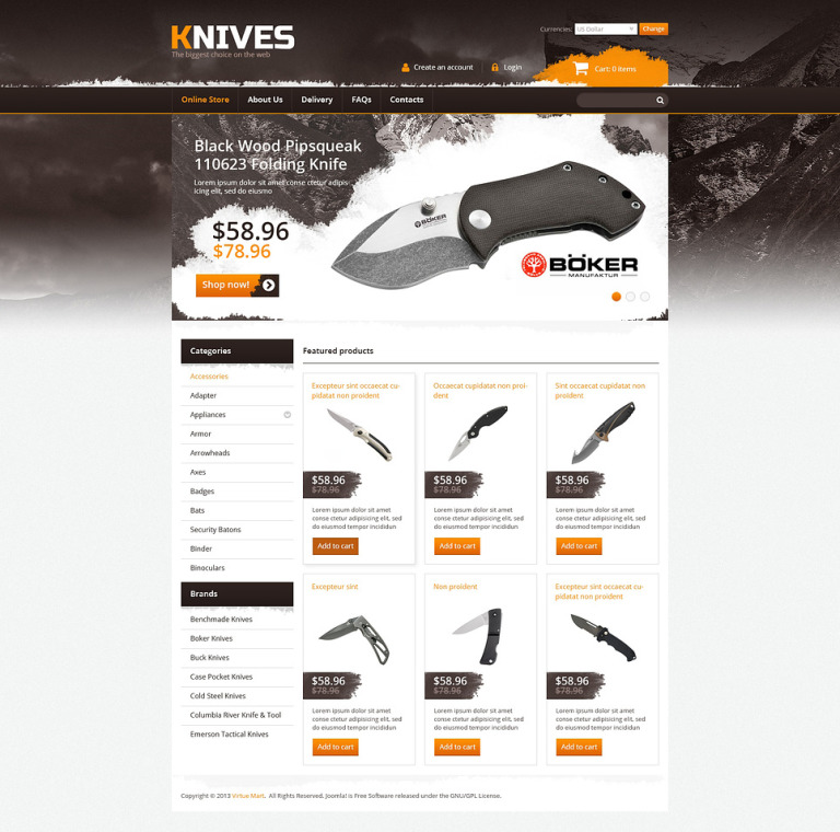 Knives on the Web VirtueMart Template New Screenshots BIG
