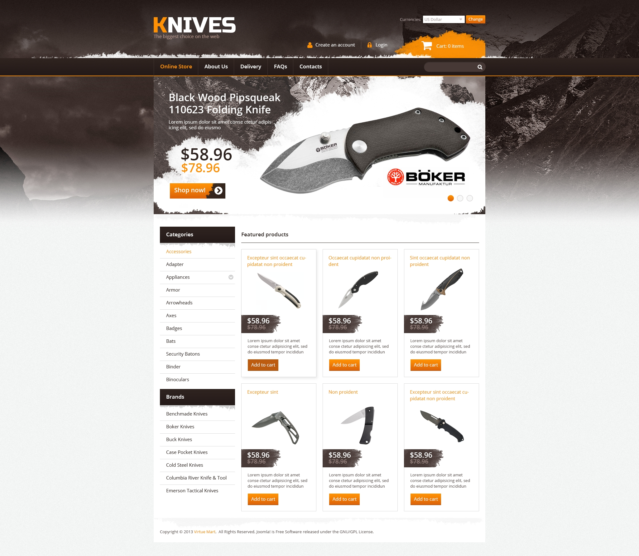 Knives on the Web VirtueMart Template #45721