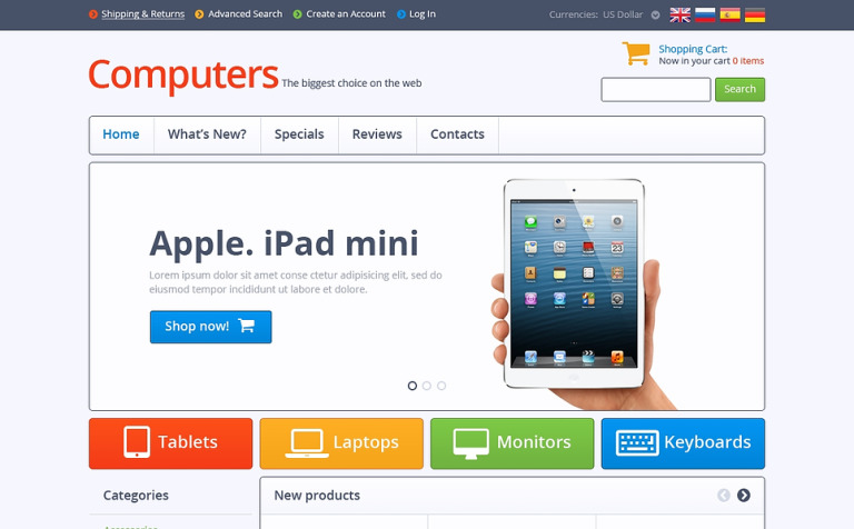 Modern Computers Store OsCommerce Template