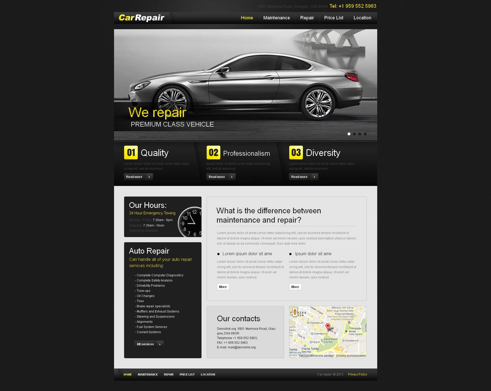 MotoCMS HTML шаблон №45773 на тему ремонт авто