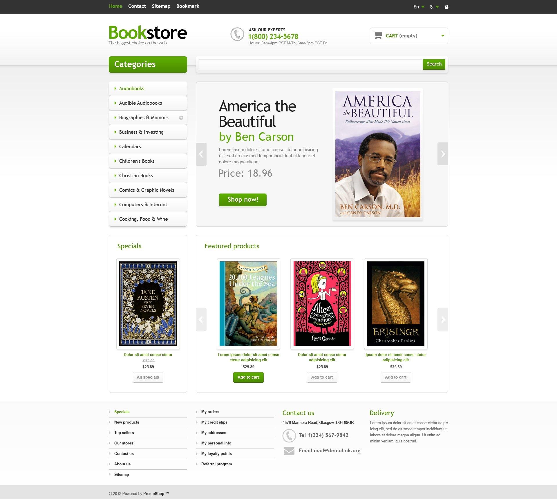 Books and Magazines PrestaShop Theme 38406 – Small Book Template
