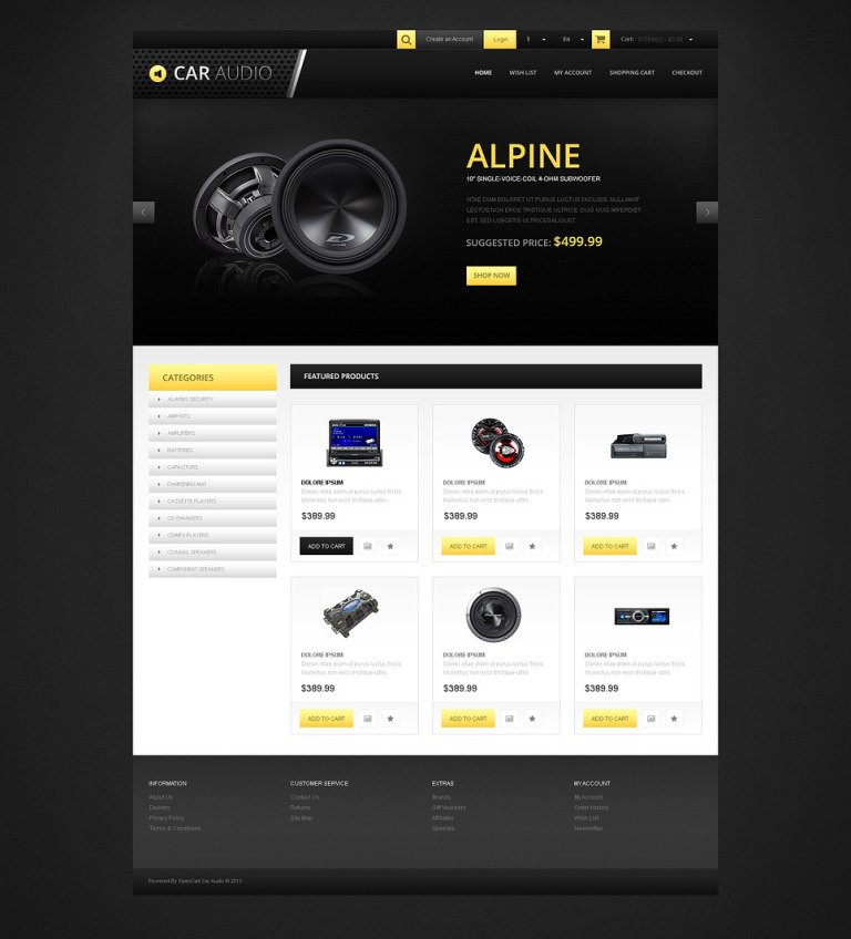 Responsive Car Audio Store OpenCart Template New Screenshots BIG