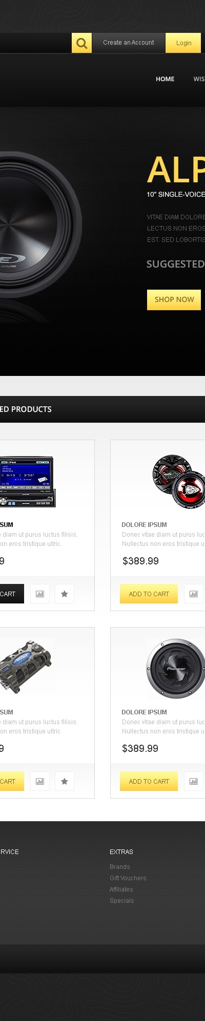 Responsive Car Audio Store OpenCart Template