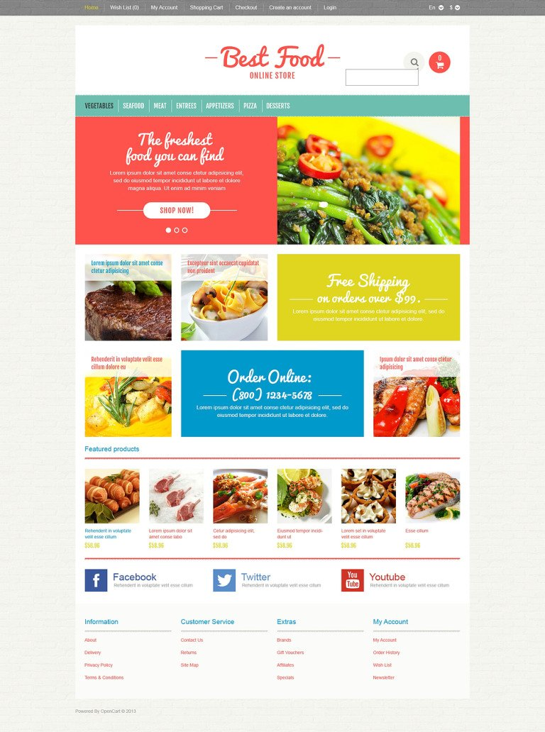 Responsive Food Store OpenCart Template New Screenshots BIG