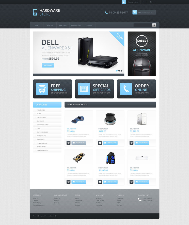 Responsive Hardware Store OpenCart Template New Screenshots BIG