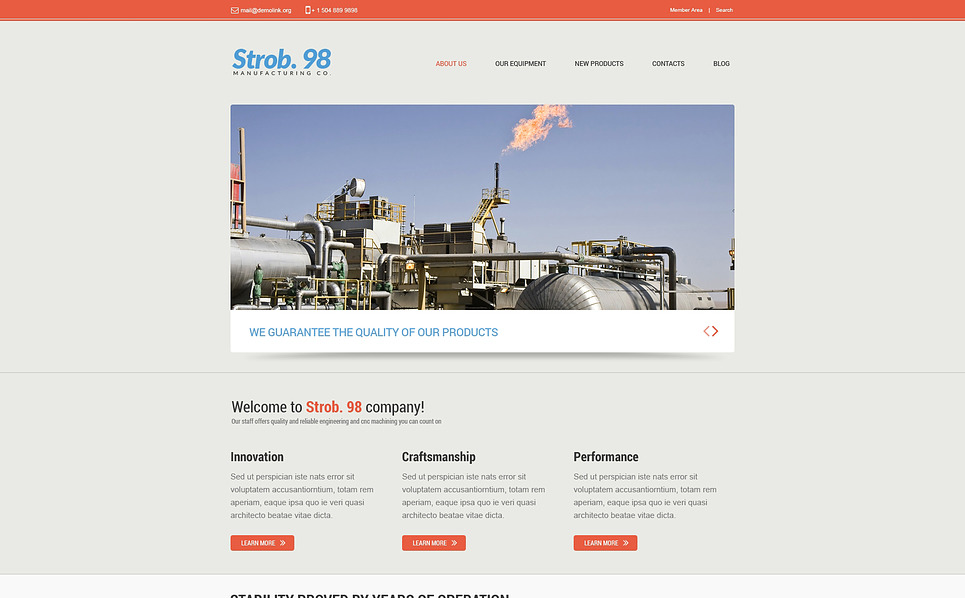 Responsive Website Vorlage für Stahlwerk  New Screenshots BIG