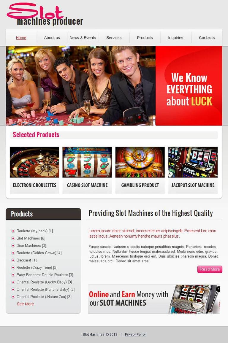 Slot Machines Facebook HTML CMS Template New Screenshots BIG