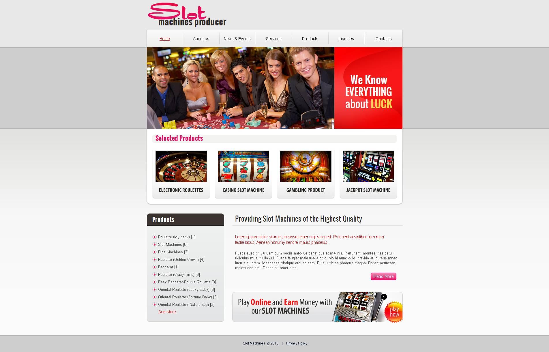 Slot Machines Moto CMS HTML Template