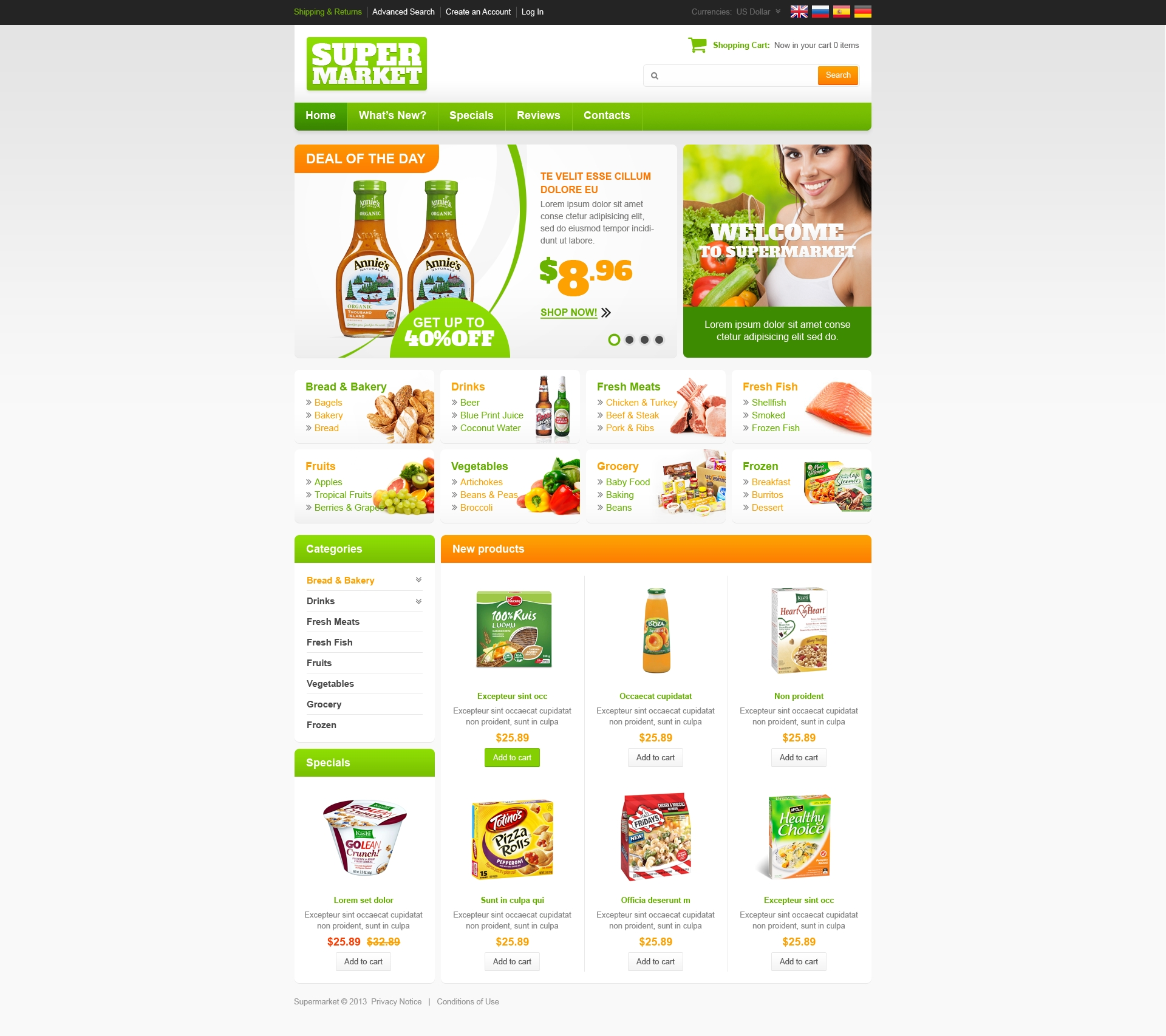 Supermarket OsCommerce Template  Grocery Templates