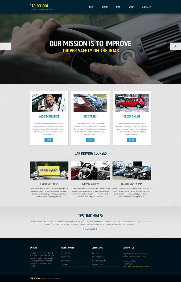 Traffic School Responsive Website Template New Screenshots BIG