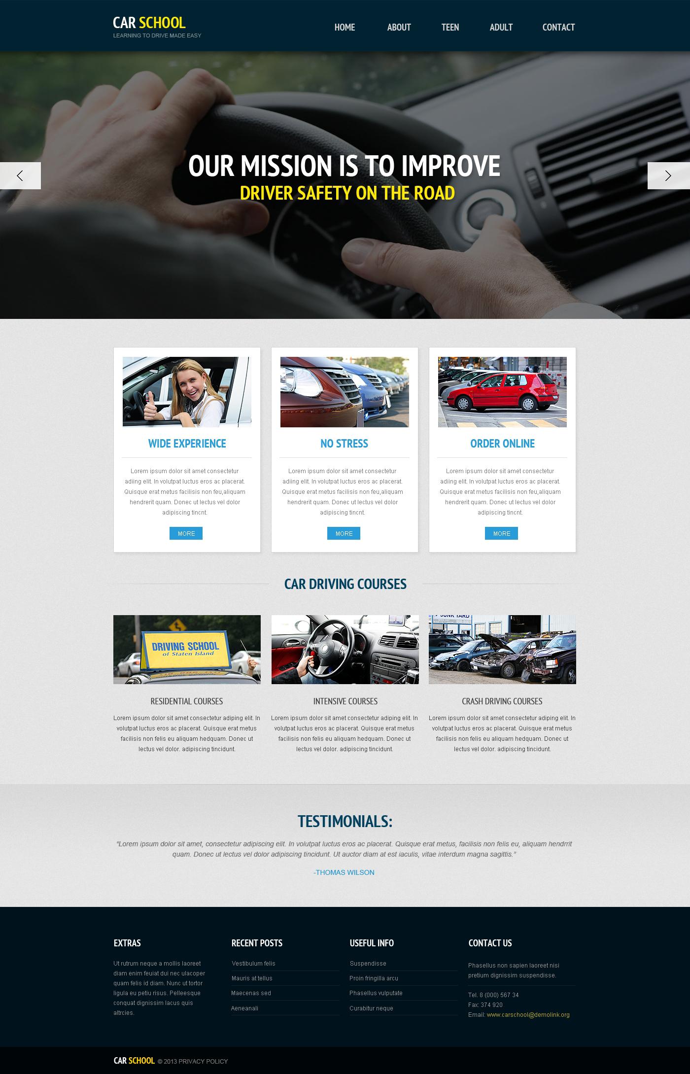 Traffic School Responsive Website Template - screenshot